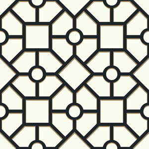 Outdoors In Hedgerow Trellis Black and Gold Wallpaper