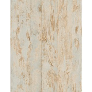 Weathered Finishes Blue and Cream Wood Wallpaper
