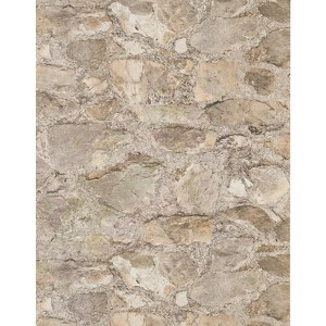 Weathered Finishes Cocoa Brown and Bright Silver Field Stone Wallpaper