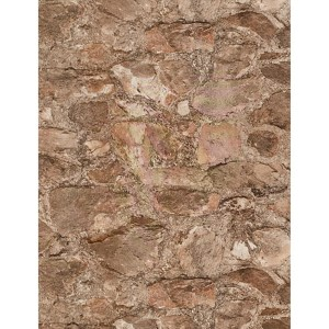Weathered Finishes Terra Cotta and Pale Grey Field Stone Wallpaper