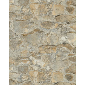 Outdoors in Field Stone Tumbled Tan and Grey Grasscloth