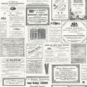 Europa II Newsprint Accessory Prepasted Wallpaper