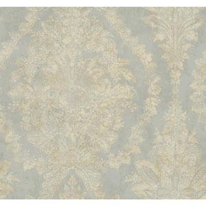 Ronald Redding 18 Karat II Metallic Silver and Cream Charleston Wallpaper