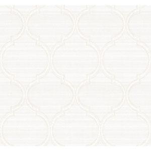 Legacy Silk Trellis White and Off White Wallpaper