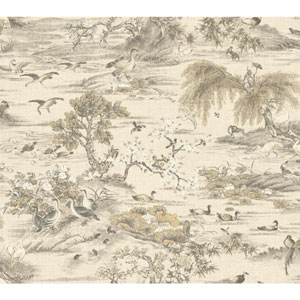 Legacy Fragrant Garden Scenic White and Off White Wallpaper