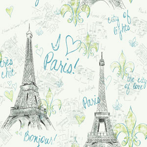 Girl Power White Background and Black and Teal 2 Paris Wallpaper