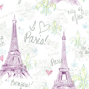 Girl Power White Background and Purple and Green 2 Paris Wallpaper