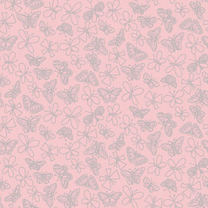 Girl Power Light Pink 2 Glitter Butterfly Wallpaper