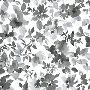 Watercolor Black Floral Peel and Stick Wallpaper