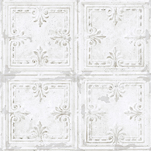 Tin Tile White Peel and Stick Wallpaper