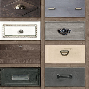 Drawer Blue, Tan and Grey Peel and Stick Wallpaper
