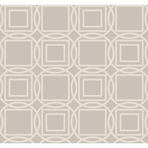 Ronald Redding Sculptured Surfaces Silver and Beige Labyrinth Wallpaper