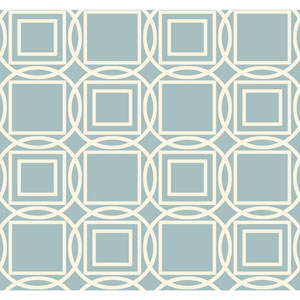 Ronald Redding Sculptured Surfaces Teal and Cream Labyrinth Wallpaper