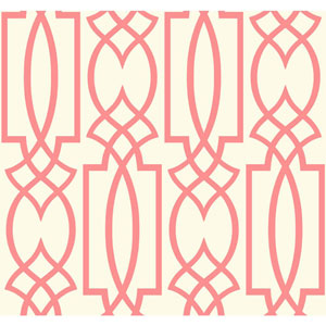 Ronald Redding Sculptured Surfaces Off-White and Coral Tracery Wallpaper