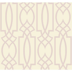 Ronald Redding Sculptured Surfaces Off-White and Lilac Tracery Wallpaper