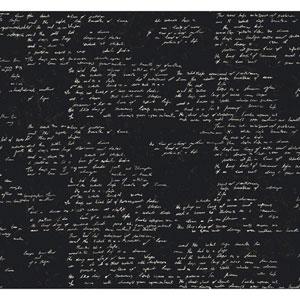Ronald Redding Sculptured Surfaces Black and Cream Manuscript Wallpaper
