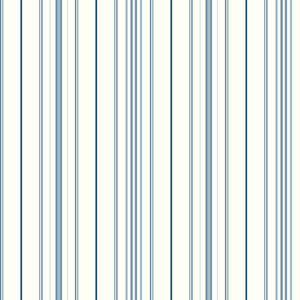 Cool Kids White and Blue Wide Pinstripe Wallpaper