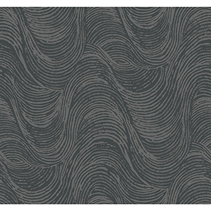 Masterworks Silver and Black Waves Wallpaper