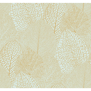 Masterworks Gold and Blue Botanical Wallpaper