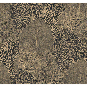Masterworks Gold and Black Botanical Wallpaper