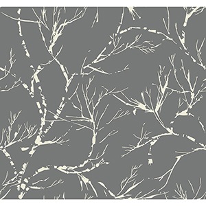 Masterworks Dark Gray Foliage Wallpaper
