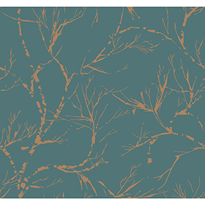 Masterworks Teal Foliage Wallpaper