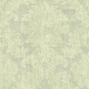 Silver Leaf II Luray Green and Cream Wallpaper