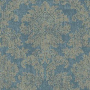 Silver Leaf II Luray Teal and Taupe Wallpaper