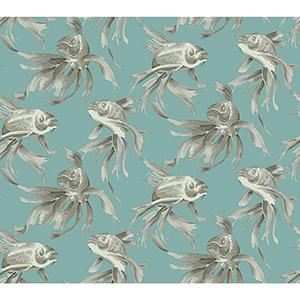 Candice Olson Tranquil Blue Koi Fish Wallpaper