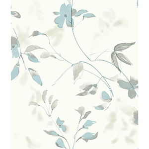 Candice Olson Tranquil Blue Floral Wallpaper