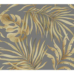 Candice Olson Tranquil Gold and Charcoal Palm Wallpaper