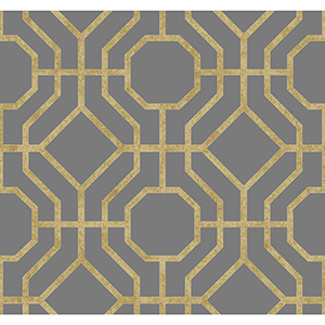 Candice Olson Tranquil Gold and Charcoal Trellis Wallpaper