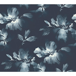 Candice Olson Tranquil Navy Blue Floral Wallpaper