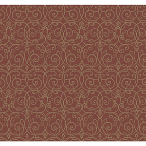 Inspired by Color Red and Gold Metallic Trellis Scroll Wallpaper