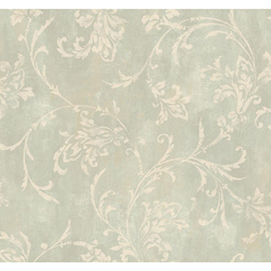 Inspired by Color Green Copper Damask Wallpaper