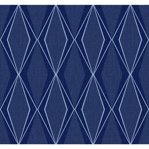 Stacy Garcia Paper Muse Blue and Silver Facet Wallpaper
