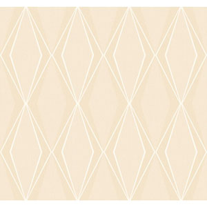 Stacy Garcia Paper Muse Beige and White Facet Wallpaper