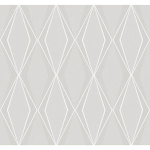 Stacy Garcia Paper Muse Grey and Silver Facet Wallpaper