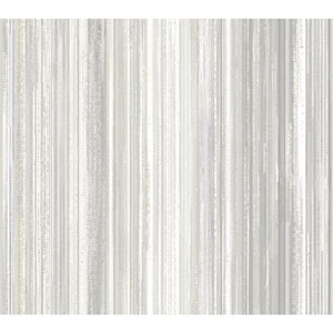 Stacy Garcia Paper Muse White and Silver Watercolor Strie Wallpaper