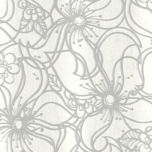 Stacy Garcia Paper Muse White and Grey Whimsical Bloom Wallpaper