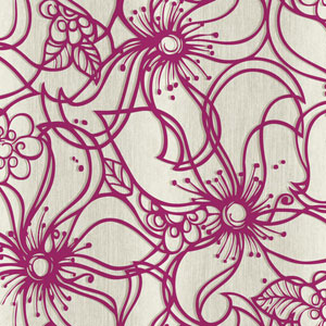 Stacy Garcia Paper Muse Cream and Magenta Whimsical Bloom Wallpaper