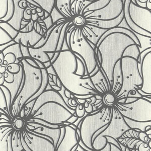 Stacy Garcia Paper Muse Cream and Grey Whimsical Bloom Wallpaper