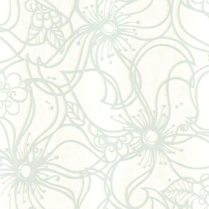 Stacy Garcia Paper Muse Cream and Aqua Whimsical Bloom Wallpaper