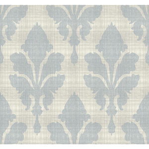 Stacy Garcia Paper Muse Cream and Light Blue Fleurish Wallpaper