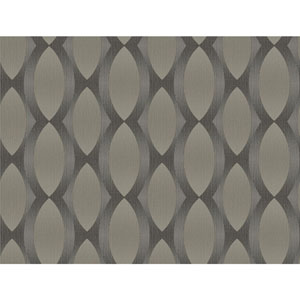 Stacy Garcia Paper Muse Black and Taupe Geo Ombre Stripe Wallpaper