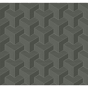 Ashford Whites Gunmetal Geometric Wallpaper