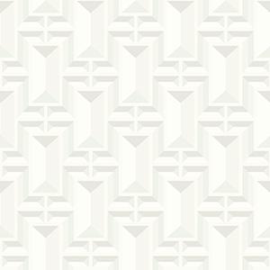 Ashford Whites White Geometric Wallpaper