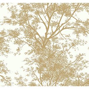 Ashford Whites Gold Foliage Wallpaper