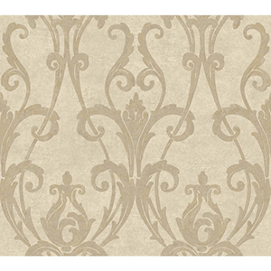 Weatherby Woods Cream and Silvery Taupe Ogee Damask Wallpaper