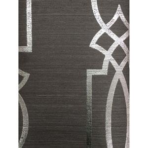 Ronald Redding Designs Stripes Resource Cathedral Trellis Black Wallpaper